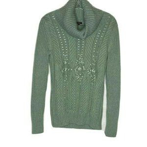 Talbots Green Ribbed Turtleneck Sweater S Thick